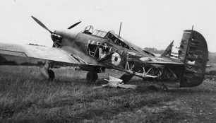 Hurricane of 615 Squadron damaged on the airfield on 18 August 1940