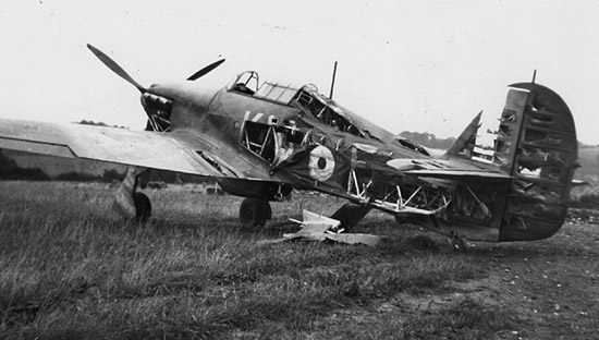 Hurricane of 615 Squadron, badly damaged by bomb blast at RAF Kenley