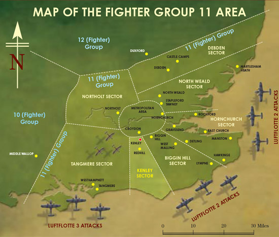 Map of Fighter Group 11 - Kenley Revival