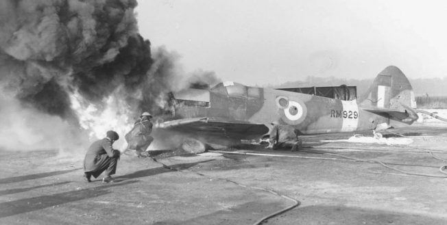 Image of a Spitfire on fire