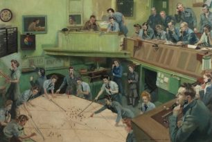 Image of a painting of the Ops Room at RAF Kenley in 1943