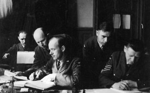 Image of RAF Kenley, May 1941. Orderly Room. Second from left W. Mordasiewicz. First from right: translator