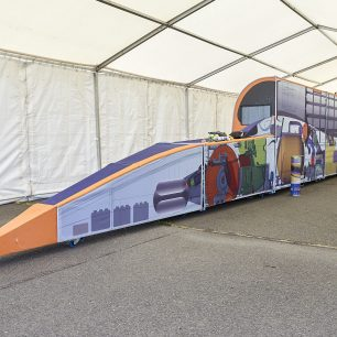 Full-size replica of the land speed record breaking Bloodhound car