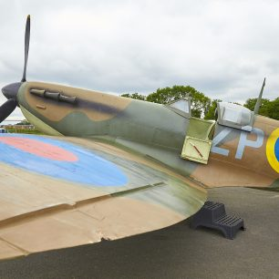 The replica spitfire on Kenley airfield