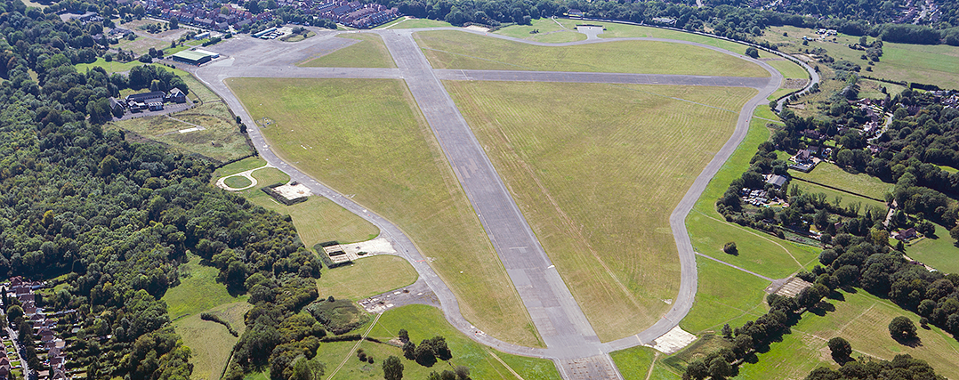 Aerial shot of RAF Kenley and Kenley Common today