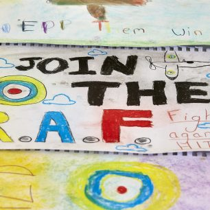 One of the posters made in the propaganda poster workshop. It reads 'Join The RAF'.
