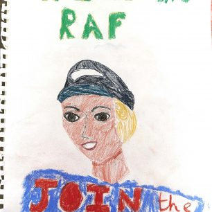 One of the posters from the propaganda poster workshop, encouring people to 'Help the RAF, Join the WAAF'