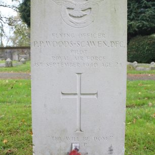 RAF Pilot P. Woods-Scawen Grave at St Mary's Church Caterham