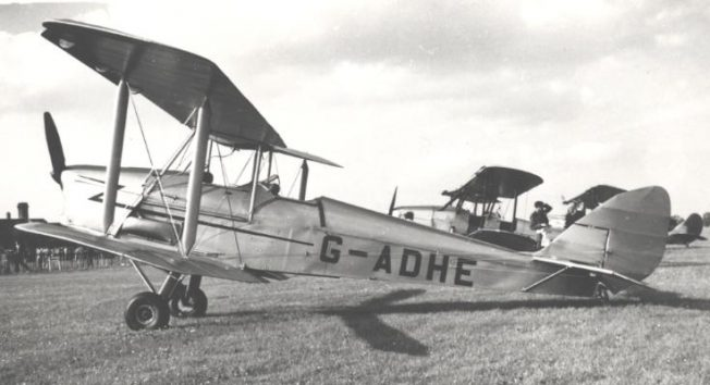 A Tiger Moth at Coventry airport in 1954