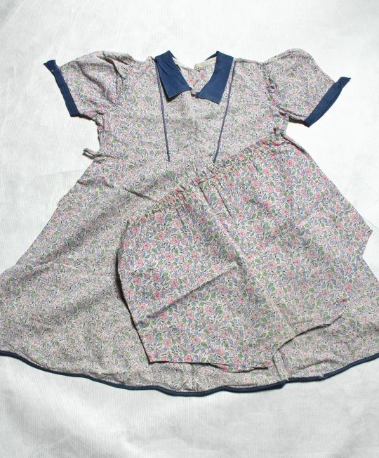 Handmade Girl's Pink and Blue Floral Dress and Pantaloons