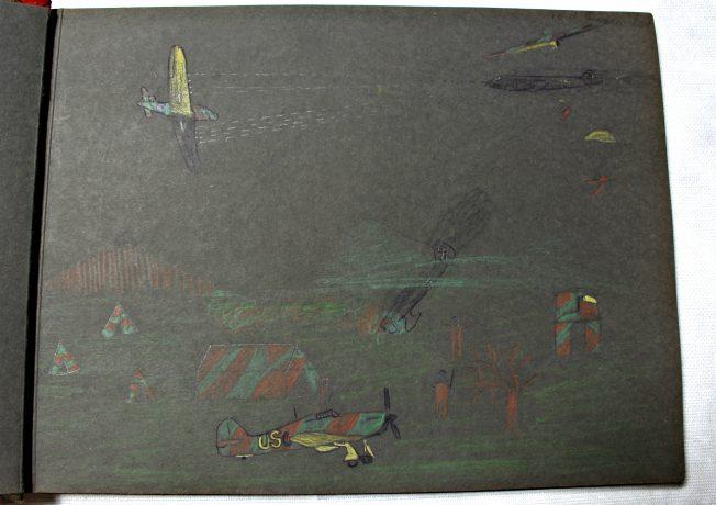 Child's Drawing of War Scene