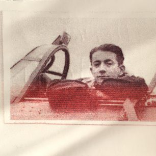 Henri Lafont sitting in a Hurricane