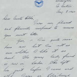 Personal letter 1 - Stanley Fenemore to his aunty | with permission from Stanley Fenemore's family