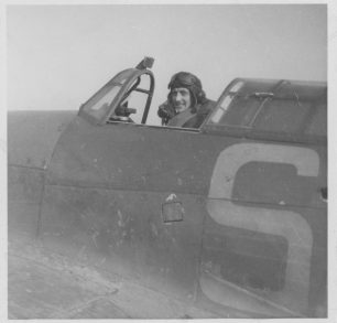 Skalski in a cockpit of Hurricane, Kenley 1940. Skalski archive.