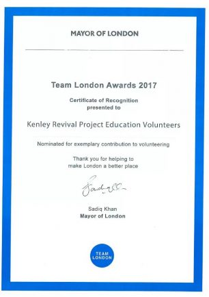 Team London Awards Certificate for Kenley Revival Project in the Culture in London category