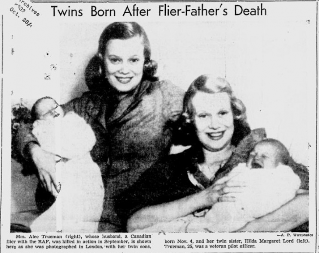 1940 Ethel Trueman, Alec's young wife, registered the births of twin sons, Alec A. G. and Michael G. G. Trueman.