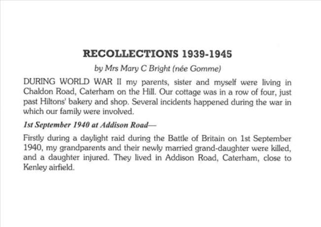 Recollections 1939 - 1945 | The Bourne Society