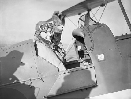 Pauline Gower, Commandant of the Air Transport Auxiliary Women's Section, waving from the cockpit of a de Havilland Tiger Moth at Hatfield, Hertfordshire, prior to a delivery flight, 10 January 1940. | © IWM (C 380)