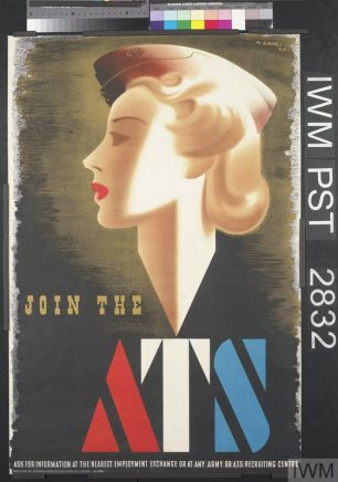 Join the ATS (Art.IWM PST 2832) whole: the image is positioned in the upper three-quarters. The title is separate and located in the lower half, in yellow-green, and in red, white and blue. The text is separate and placed along the bottom edge, in white. All set against a green and black background.