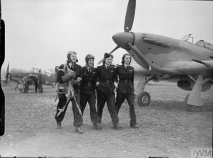 Allied women pilots of the Air Transport Auxiliary service. Their job done, four female ATA pilots (three Americans and one Polish) leaving an airfield near Maidenhead, 19 March 1943. They are from left to right: Roberta Sandoz of Washington; Kay Van Doozer from Los Angeles; Jadwiga Piłsudska from Warsaw; and Mary Hooper from Los Angeles.