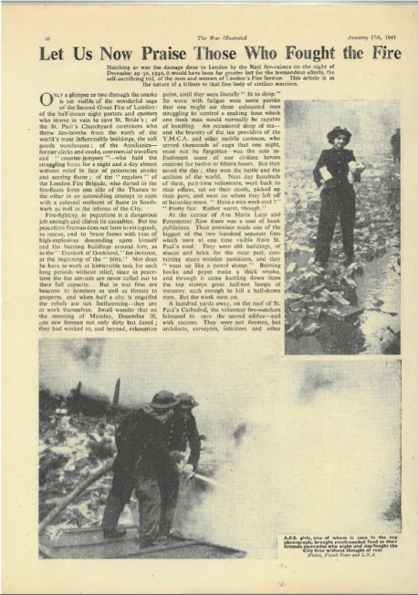 'The War Illustrated' article on AFS (Auxiliary Fire Service) girls, the work that they did during the war