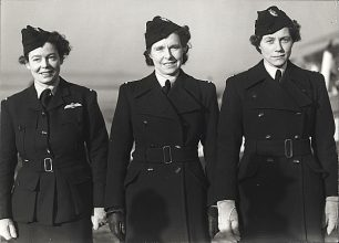 Left to right First Officer Gabrielle Patterson, Captain Rosemary Rees, and Commander Marion Wilberforce