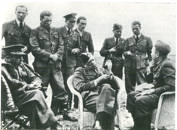 The visit of officer Stefan Pawlikowski at 302 Squadron at RAF Kenley. From the right: commander of 302 Squadron Major Piotr Łaguna, Lieutenant Jan Wydrowski, Sergeant Jan Załuski, Officer Stefan Pawlikowski, Sergeant Eugeniusz Nowakiewicz, Sergeant Bronisław Malinowski, Sergeant Antoni Łysek, squadron's paramedic Sergeant and Adjutant Captain Łukaszewicz.