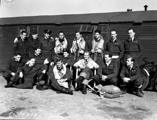 416 Squadron pilots in front of their luxurious accommodation at Kenley in April 1943 | Image used with kind permission of The Canadian Fighter Pilot and Air Gunner Museum