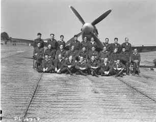 Members of 403 (Wolf) Fighter Squadron in August 1943 in front of a Spitfire | Image used with kind permission of The Canadian Fighter Pilot and Air Gunner Museum