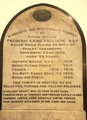 Image of Flying Officer Collison's memorial tablet at Epping Old Church