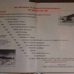 Flying programme for RAFA (Caterham) Battle of Britain 40th Anniversary Kenley Flies Programme, 6 July 1980