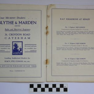 Image of pages of the RAF Kenley 1937 Empire Air Day Programme