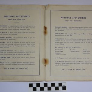 Image of pages of the RAF Kenley 1937 Empire Air Day Programme, detailing the buildings and exhibits open to the public