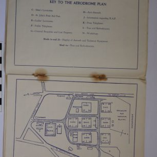 Image of pages of the RAF Kenley 1937 Empire Air Day Programme, showing the aerodrome plan