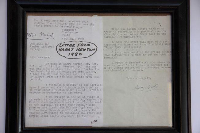 Letter from Harry Newton, formerly a Sergeant with 111 Squadron based at RAF Croydon 11 June 1980