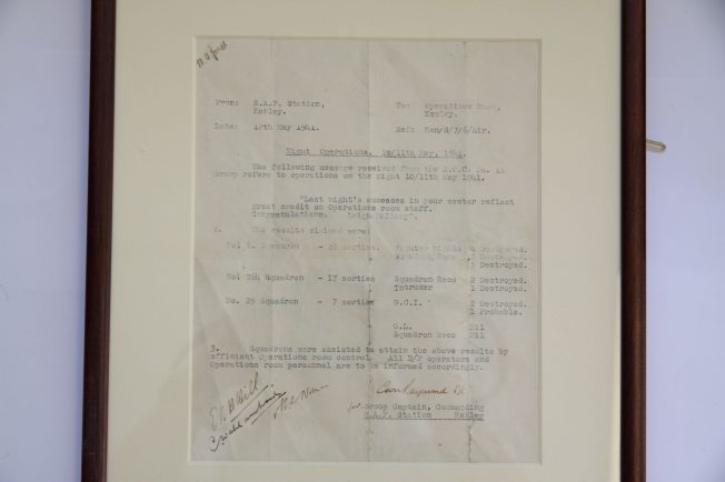 Congratulatory letter to RAF Kenley Operations Room personnel