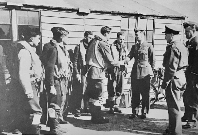 King George VI meeting pilots of the Kenley Wing.  | R.A.F. Kenley by Peter Flint.