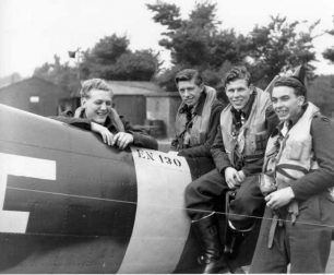 P/O James Abbotts sitting third from right. I think the two pilots sitting to his left are George Rawson Brown and George Uttley, both killed in May 1943, so this photo was probably taken between February and early May, 1943.  | The Abbotts family, Dean Black, Pierre Lagace.
