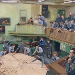 WAAF Lilian Buchanan's painting of the Kenley Operations Room at 'The Grange' in Old Coulsdon. F/Sgt. Rose can be seen on the balcony in front of the green door.