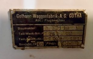Messerschmitt Bf110 Data Plate