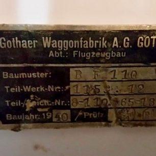 Messerschmitt Bf 110 data plate | Chris Burton