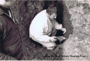 Founder of Kent Battle of Britain Museum, Mike Llewellyn MBE, leading the excavation of Sgt. Allgood's Hurricane from the cellar of Albion Place.  | Kent Battle of Britain Museum.