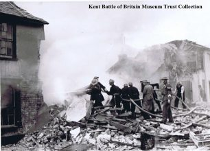 Firemen trying to bring the blaze under control at No.59 and No.61 Albion Place, Maidstone.  | Kent Battle of Britain Museum