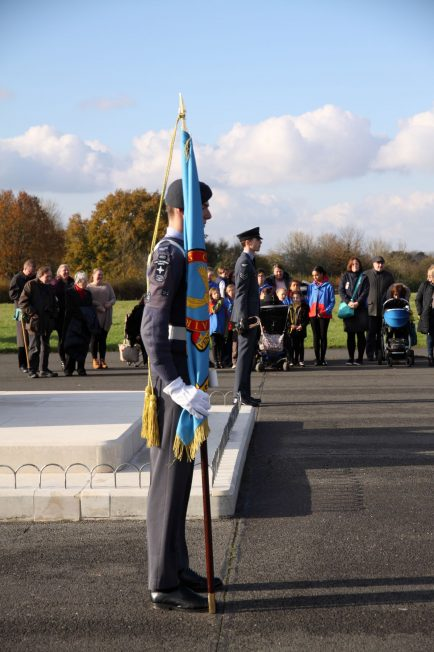RAF Standard bearer and bugler stand watch over the RAF Kenley Tribute. 10 November 2019 | Tony Adams