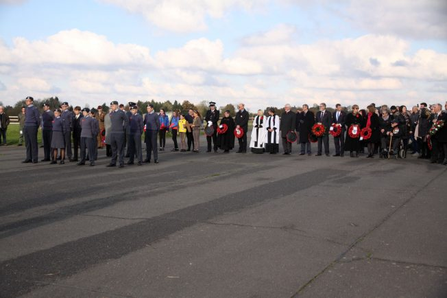 Local dignitaries, religious representatives, military delegates and veterans await the wreath laying ceremomy. 10 November 2019 | Tony Adams