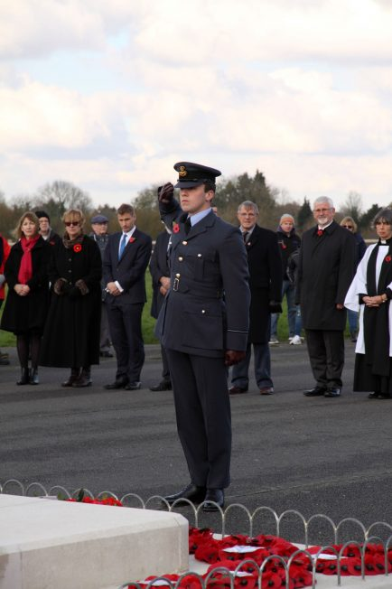 RAF representative salutes the Kenley Tribute after laying a wreath. 10 November 2019 | Tony Adams