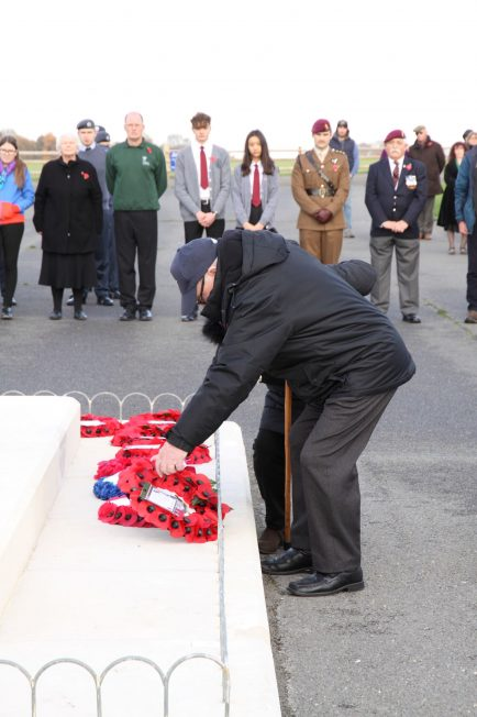 A veteran lays a wreath at the Kenley Tribute. 10 November 2019 | Tony Adams