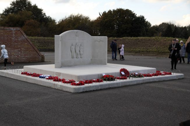 View of the Kenley Tribute after the wreath laying ceremony with the wreaths in place. 10 November 2019 | Tony Adams