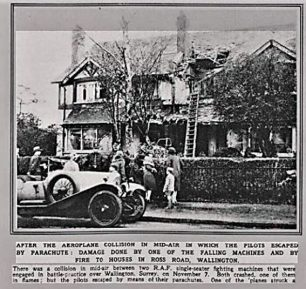 Passersby inspect the damage to houses in Ross Rd, Wallington. | Airport of Croydon website