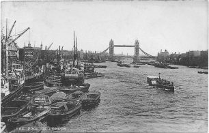 1938 postcard of Tower Bridge, London. | C. F. Castle's Lesco series
